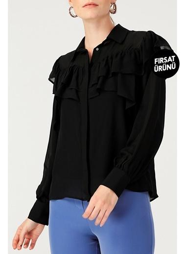 Random Kadın Volan Detaylı Uzun Kollu Siyah Gömlek Siyah